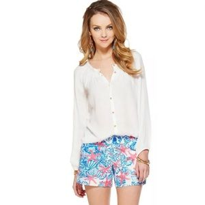 Lilly Pulitzer White Maribel Top Button Down Top S